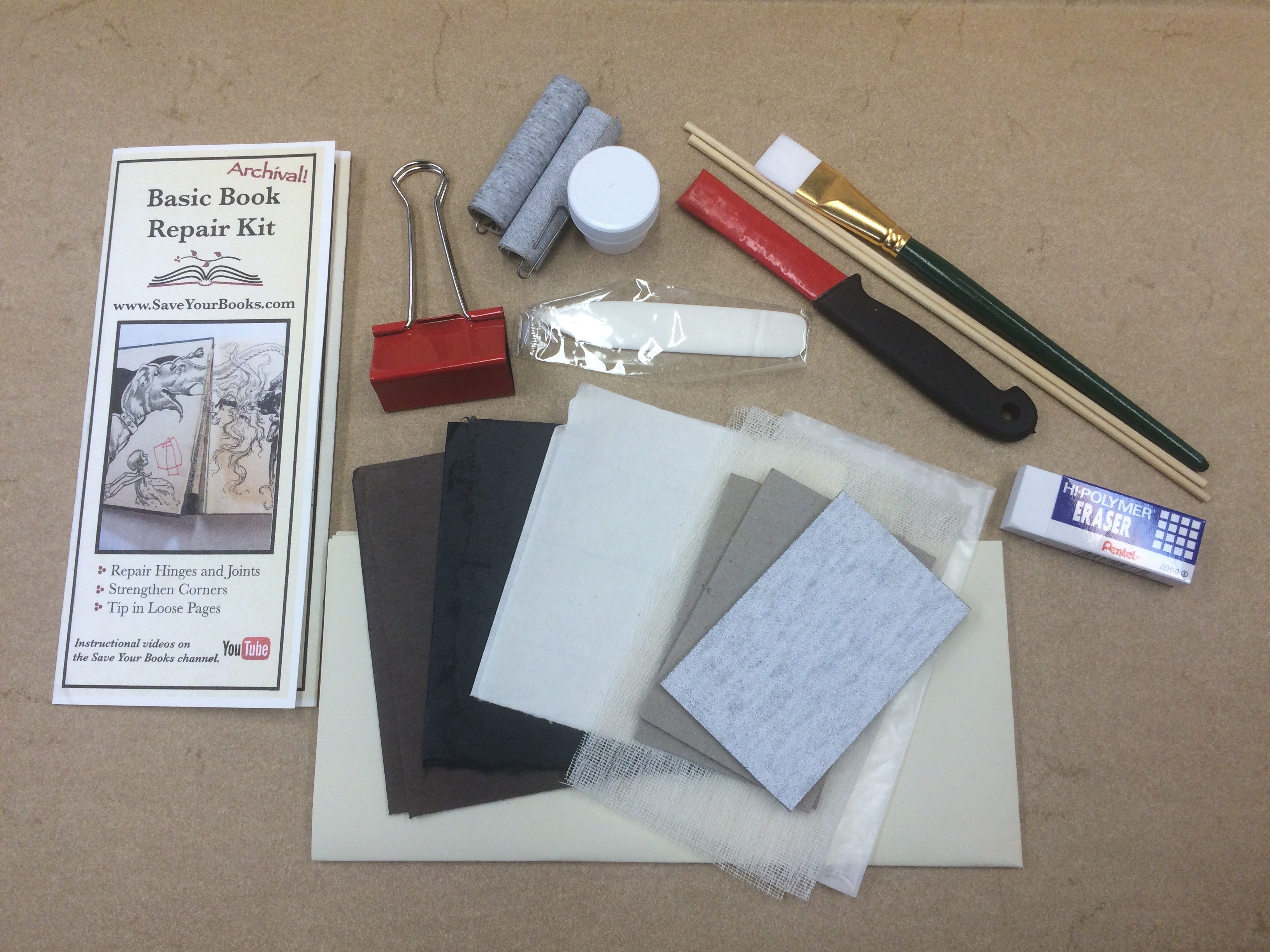 Book repair kit for repairing a book corner